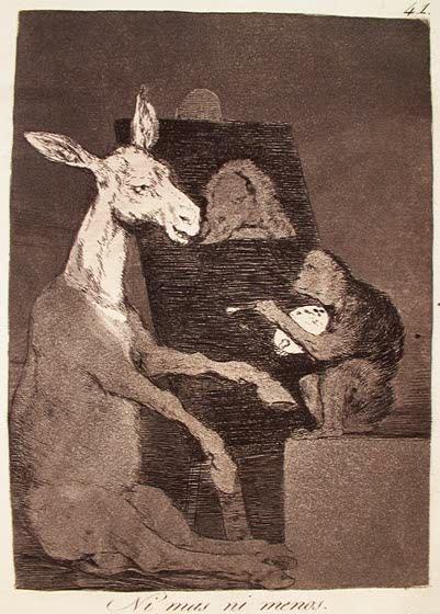 """""""Ni más ni menos"""" Aguafuerte de Francisco de Goya, estampa 41 de la serie de """"los caprichos"""" publicada en 1799."""