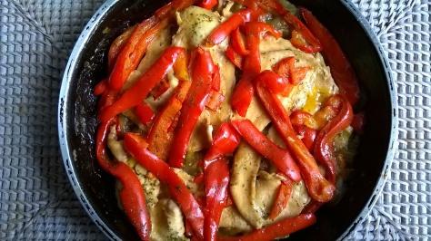 filetes de pollo con pimientos y a la miel